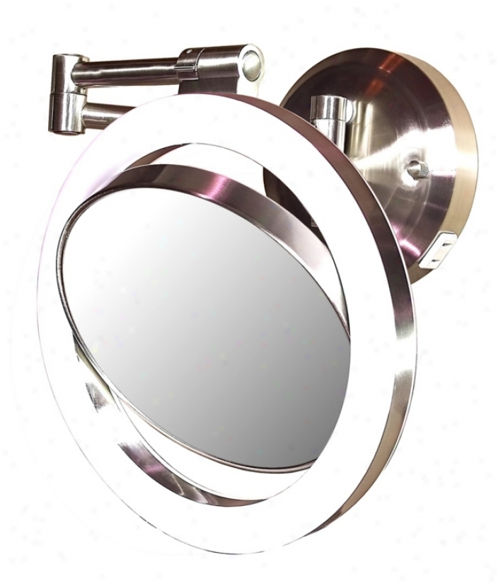 "Satin Nickel Finish Cfl 12"" High Wall Mount Plug-in Mirror (r3057)"