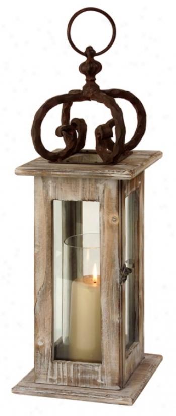Scandinavian Washed Natural Wood Lantern (t9991)