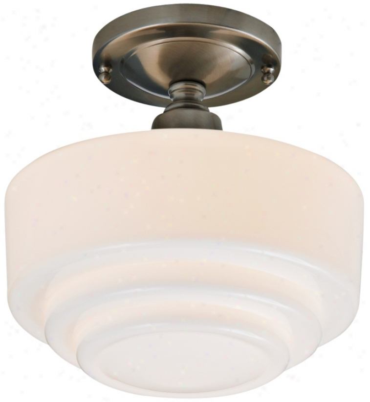 "Schoolhouse Step 9 1/2"" Wide Brushed Nickel Ceiling Buoyant (83829)"