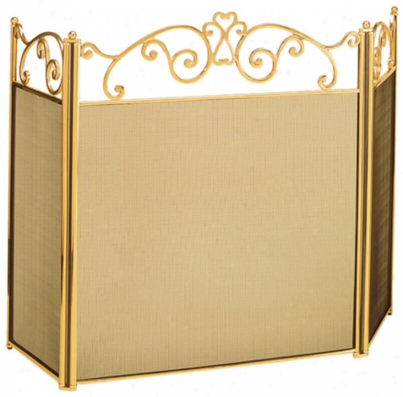 Schedule Top Polished Brass Folding Fireplace Screen (l0255)