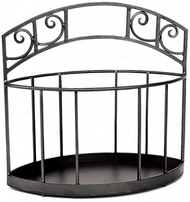 "Scrolls 18"" High Graphite Powder Coat Fireplace Log Holder (u9322)"