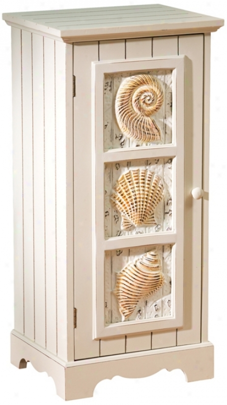 Seashells Whitewash Single-door Cabinet (u4013)