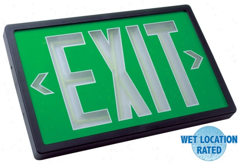 Self-luminous Black And Green 2-face Exit Sign (52762)
