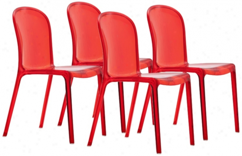 Set O F 4 Zuo Gumdrop Transparent Red Outdoor Dining Chairs (t7484)