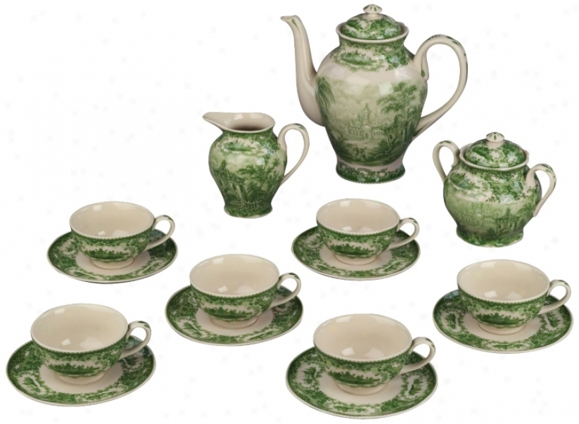 Set Of 15 Green And White Porcelain Tea Set (r3293)