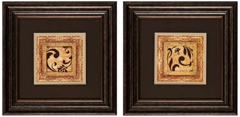 "Set Of 2 14"" Square Scroll Detail Wall Art Prints (v73O5)"