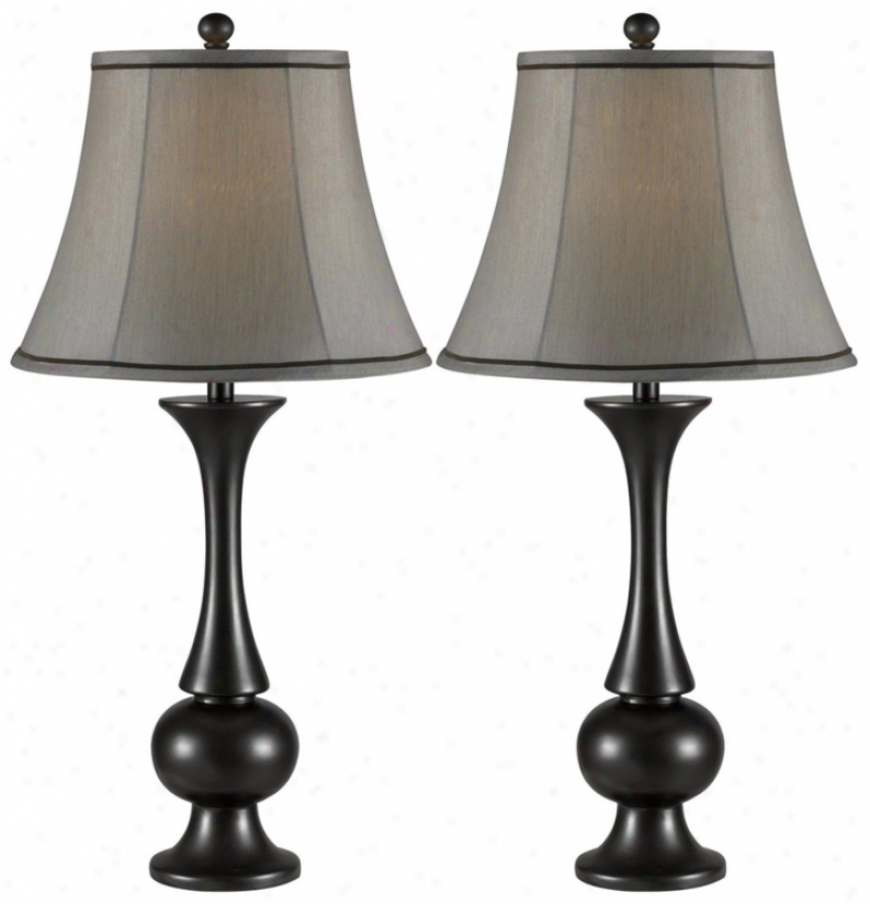 Sdt Of 2 Abbott Metallic Bronze Table Lamps (p0748)