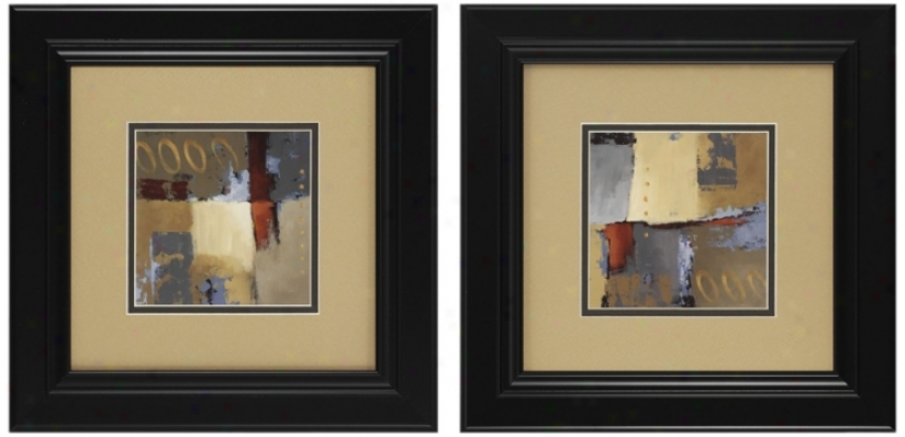Regulate Of 2 Abstract Prints I And Ii Wall Art (n3091)