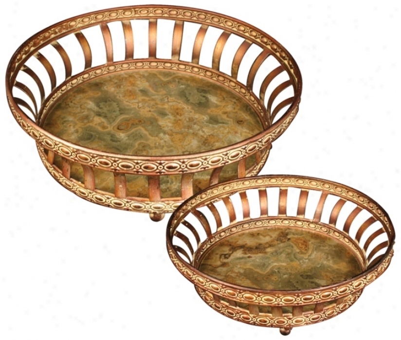 Set Of 2 Appaloosa Metal And Glass Decorative Round Trays (v5176)