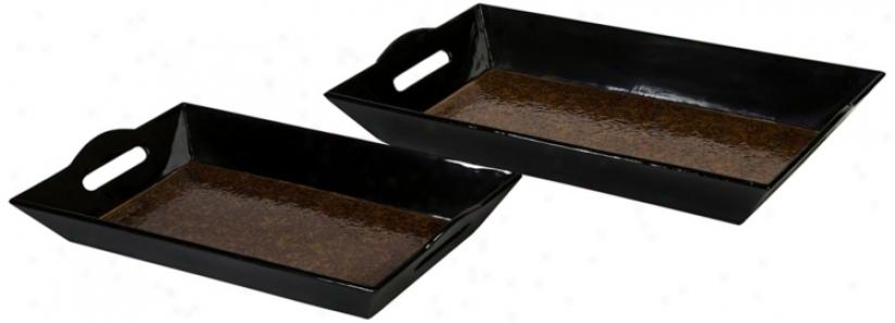 Set Of 2 Black And Orange Bambko Catalina Trays (t9657)