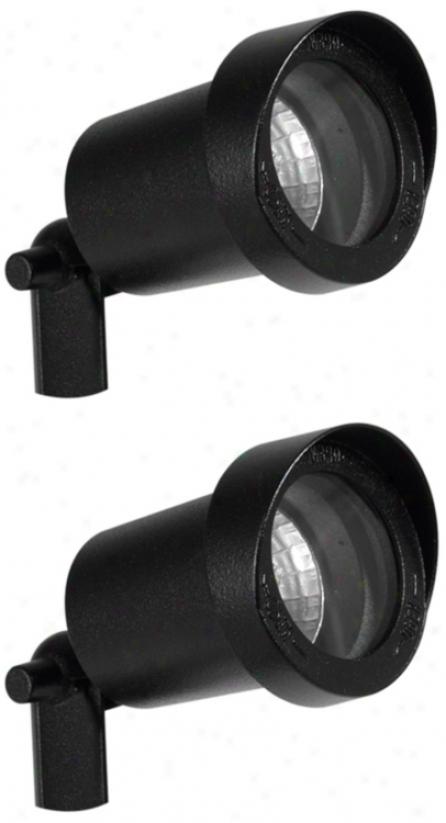 Write Of 2 Black Finish 10 Watt Outdoor Spot Lights (r1216)