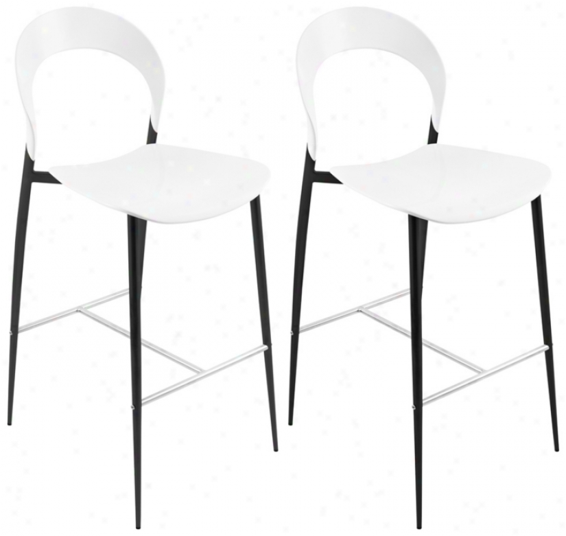 Set Of 2 Black Finish Legs Moonrise Bar Stool (t8351)