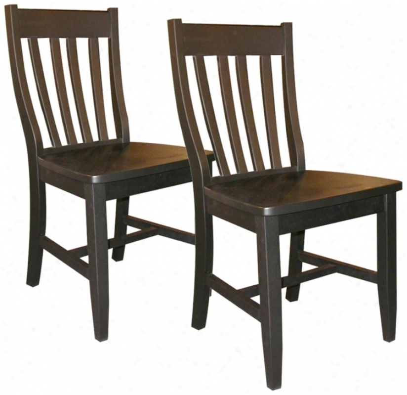 Set Of 2 Black Finish Schoolhouse Chairs (u4236)