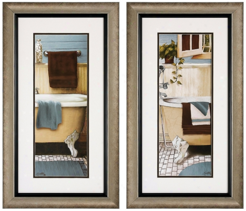 "Set Of 2 Blue Bain Iii/iv 28"" High Bathroom Wall Art Prints (v6207)"