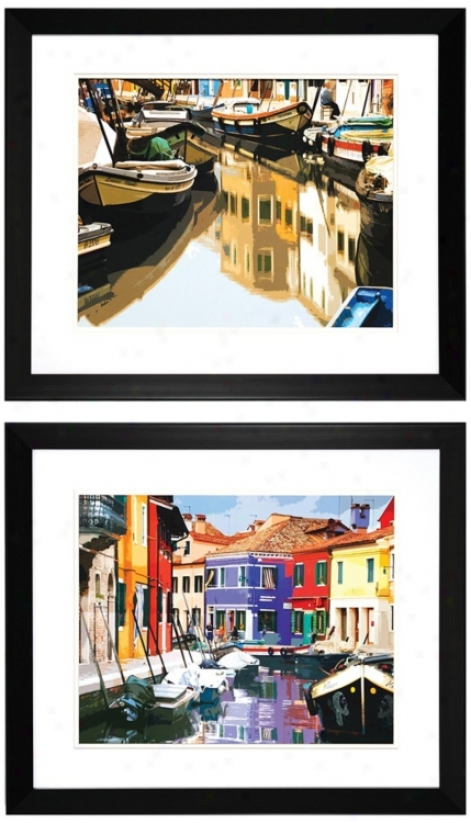 Set Of 2 Boats And Village 28&qhot; Wide Fram3d Wall Art (v6945)