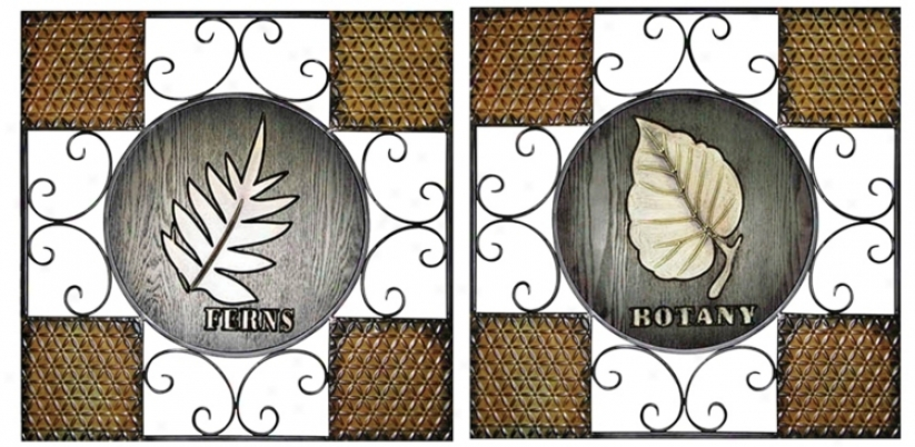 Set Of 2 Botanical Metal Wood Wall Art (j7935)