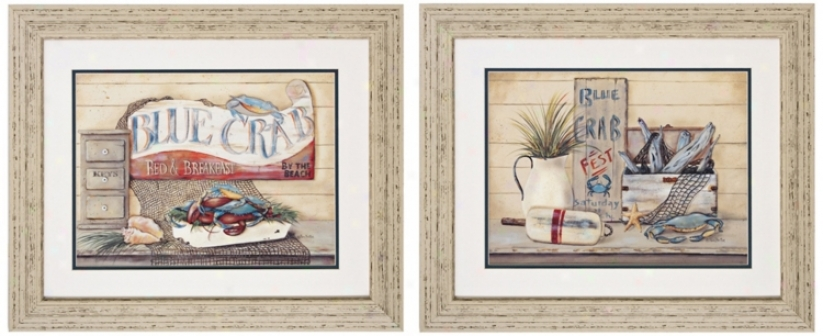 "Set Of 2 Breakfast And Fest 24"" High Framed Wall Art Prints (v7308)"