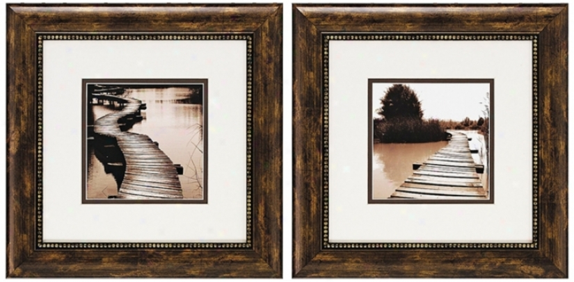 Set Of 2 Bricges Wall Art (j6613)