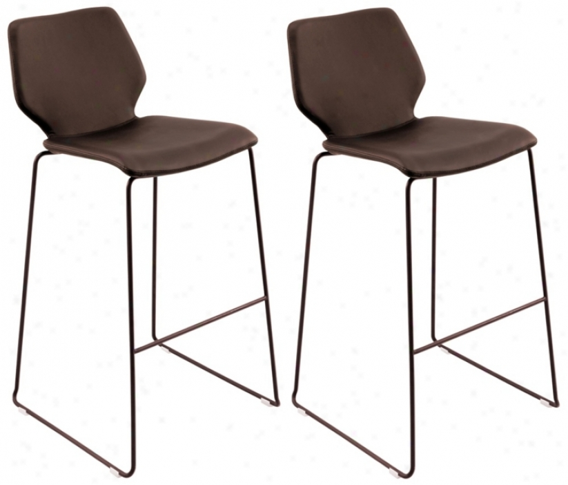 Offer for sale Of 2 Brown Leatherette Orson Barstools (t8320)
