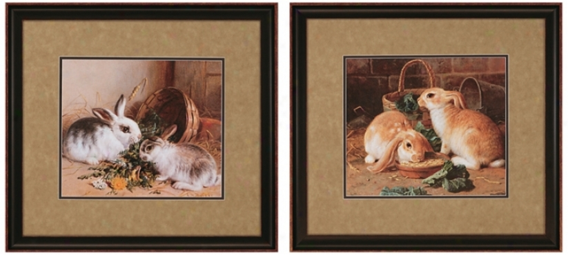 Set Of 2 Bunnies Prints Wall Art (j3576)