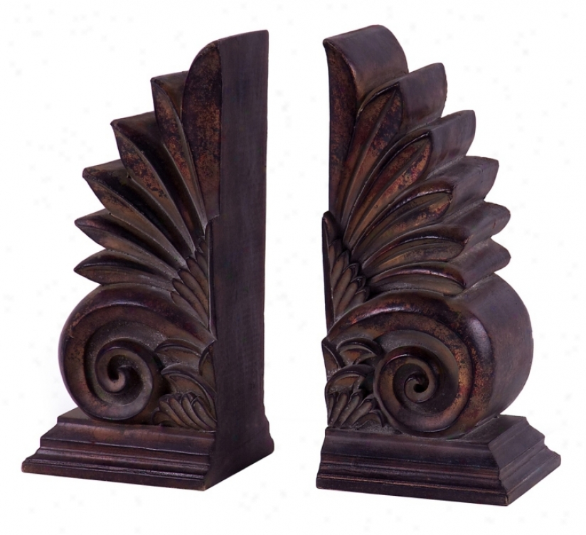 Set Of 2 Caravan Classic Carved Book Ends (m8427)