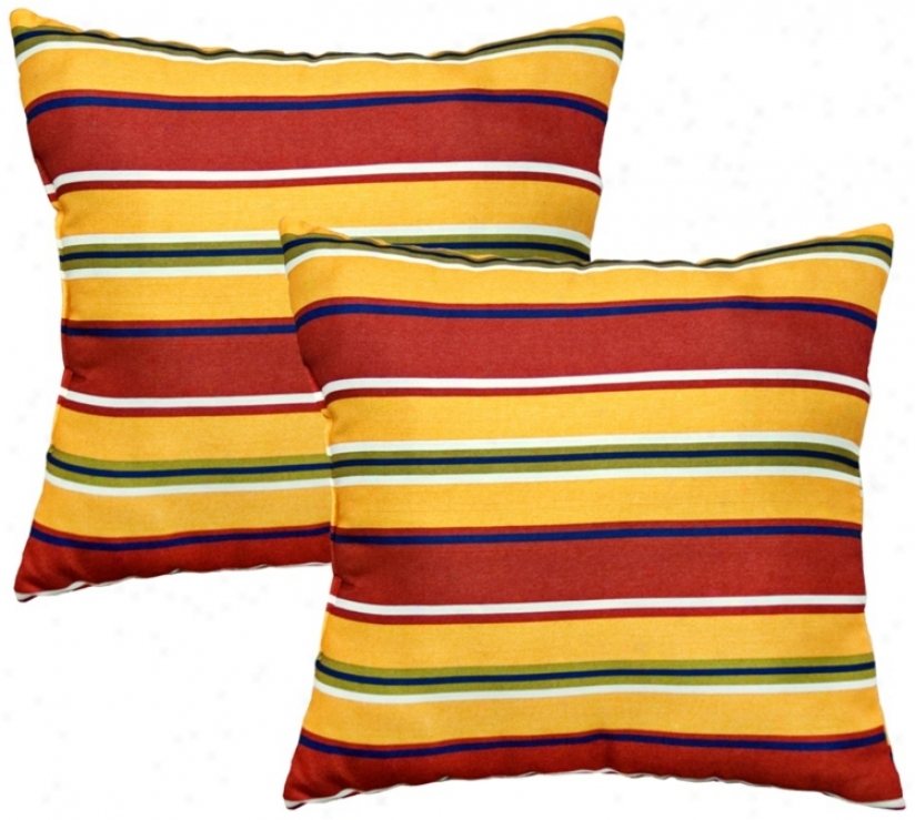 Set Of 2 Carnival Stripe Outdoor Accent Pillows (w6203)