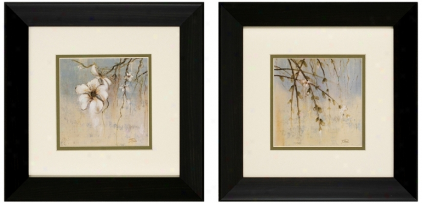 "Set Of 2 Cherry Blossom I/ii 13"" Floral Wall Art Prints (v6159)"