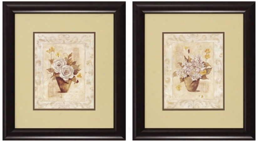 Regular Of 2 Cottage Roses Prints I And Ii Wall Art (n3102)