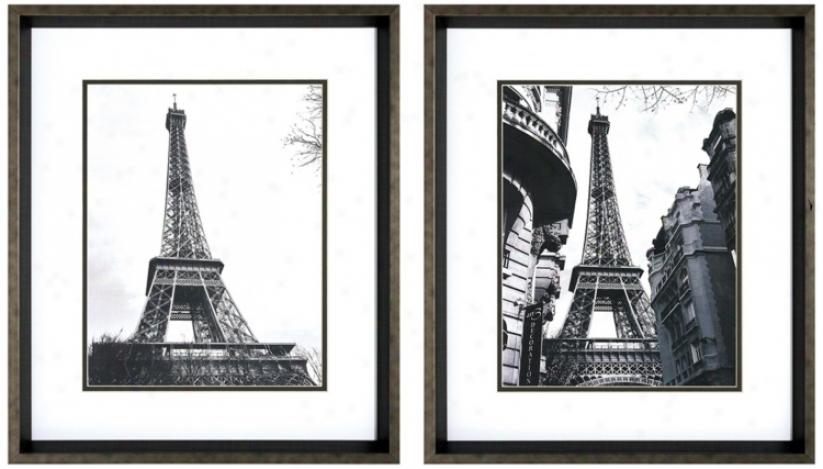 Set Of 2 Dark Silver Frame Eiffel Tower Wall Art I/ii (v6188)