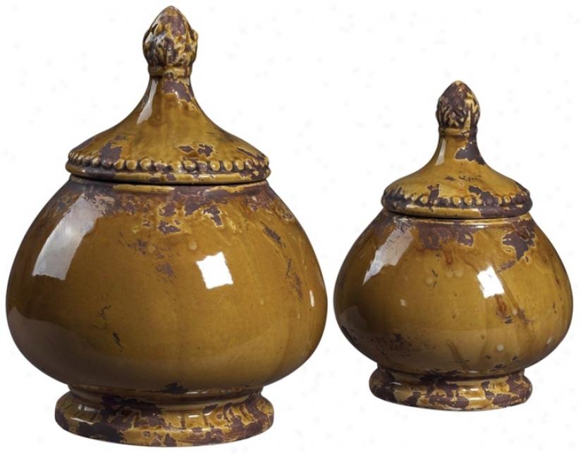 Contrive Of 2 Dijon Finished Ceramic Jars (u6865)