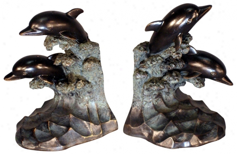 Set Of 2 Dolphin Bookends (f3935)