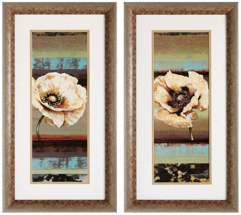 "Set Of 2 Element Poppy I/ii 26"" High Flower Wall Art Prints (v6206)"