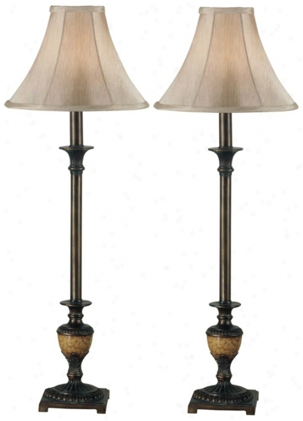 Set Of 2 Emily Crackle Bronze Buffet Lamps (p0761)