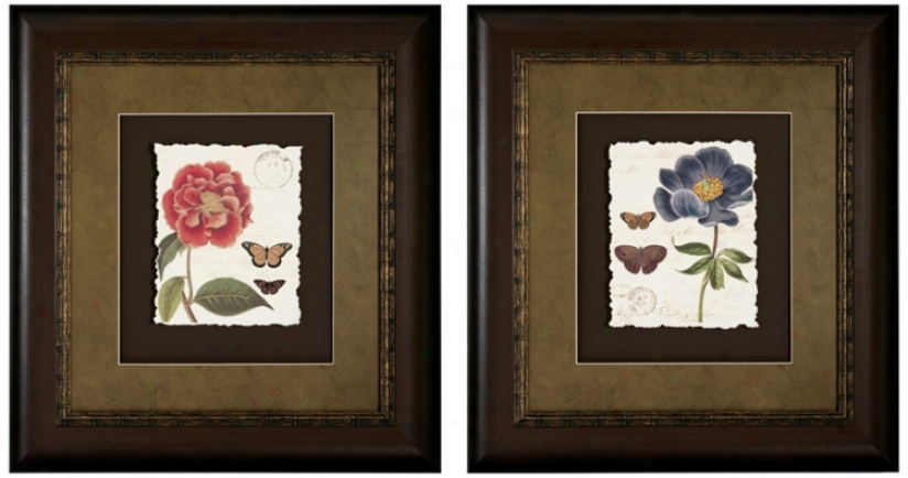 Set Of 2 Framed Red And Blue Floral Wall Trade Prints I/iii (v6577)