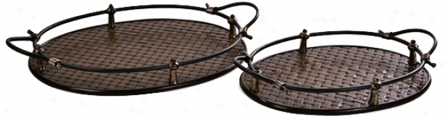 Set Of 2 Frasier Woven Trays With Handles (u0004)