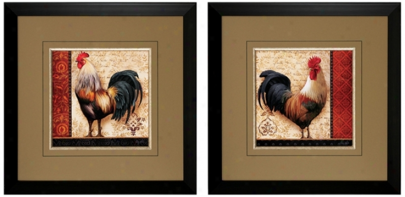 "Set Of 2 French Rooster 23"" Square Illustrated Wall Art (v6862)"