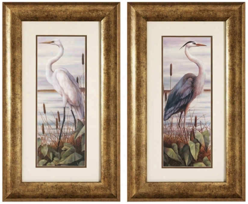 Set Of 2 Gold Frame Heron And Egret Bird Walk Art Prints (v6576)