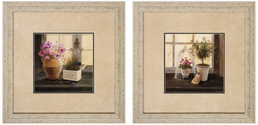 "Set Of 2 Herb/lavender 24"" Square Framed Wall Art (v6917)"