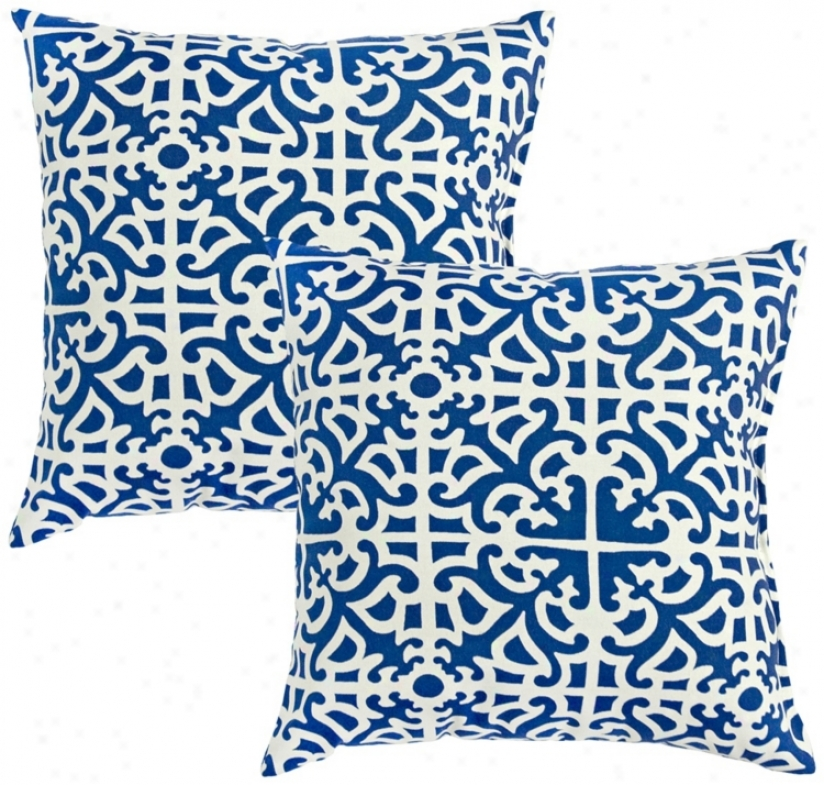Set Of 2 Indigo Blue Outdoor Accent Pillows (w6207)