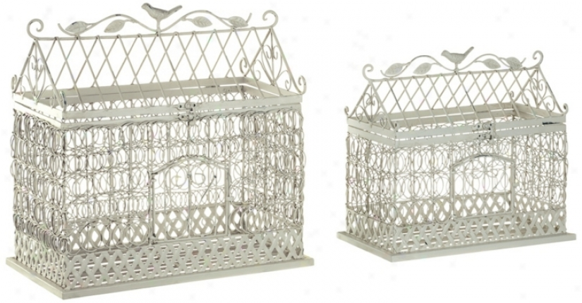 Set Of 2 Ivory Iron Fowl Cages (r9816)