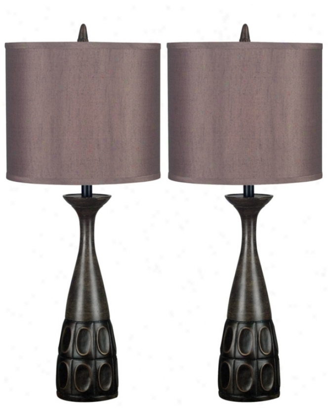 Set Of 2 Jules Mahogany Bronze Table Lamps (p0753)