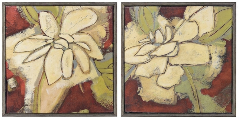 "Set Of 2 Jungle Gardenia I & Ii 18"" Square Wall Art (k2089)"