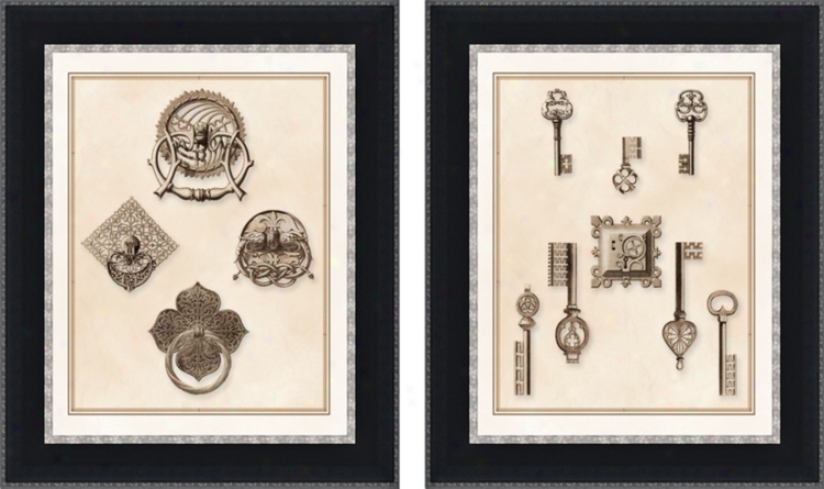 Set Of 2 Keys And Latches Wall Art Prints (f5430)