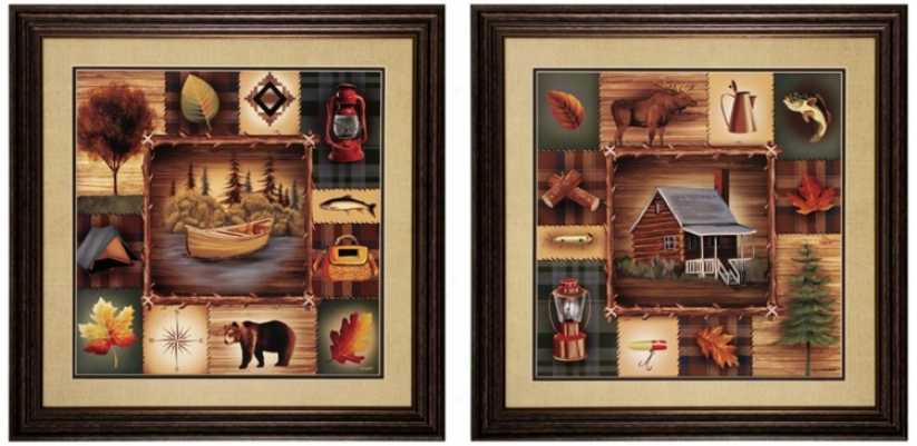 "Set Of 2 Lake Cabin 26"" Square Rustic Wall Art (v686)"