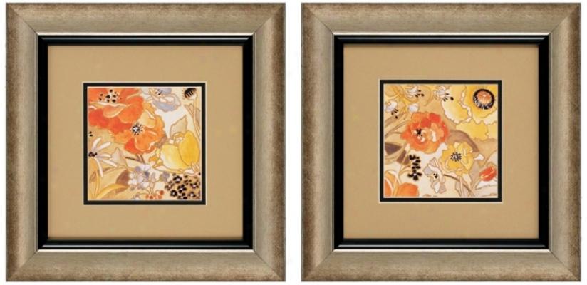 "Set Of 2 Le Jardin I/ii 14"" Square Garden Wall Art Prints (v6164)"