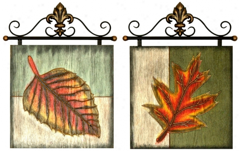 Set Of 2 Leaf Metal And Wood Wall Art (j7941)