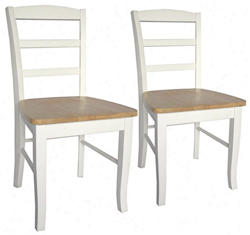 Set Of 2 Madrid White And Natural Ladderback Dining Chairs (u4232)