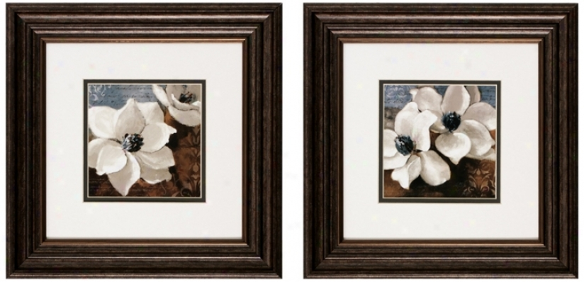 "Set Of 2 Magnolias I/ii 14"" Square Flower Wall Cunning Prints (v6166)"
