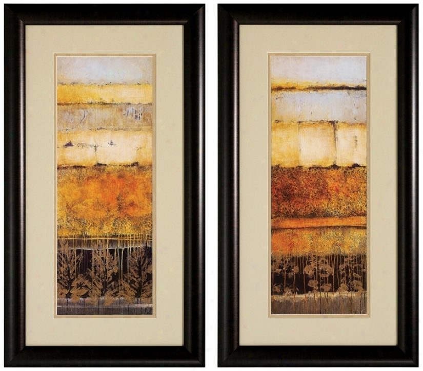 Set Of 2 Natures I/ii Framed Abstract Wall Art Prints (v6196)