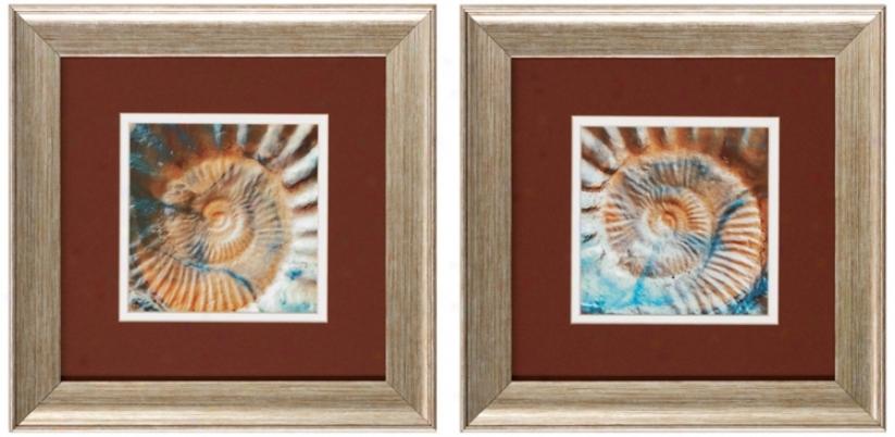 Set Of 2 Nautique I/ii Framed Bathroom Wall Art (v6171)